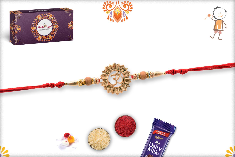 Golden Classic Flower With Om Rakhi 3