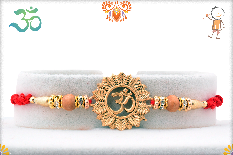 Golden Classic Flower With Om Rakhi 1