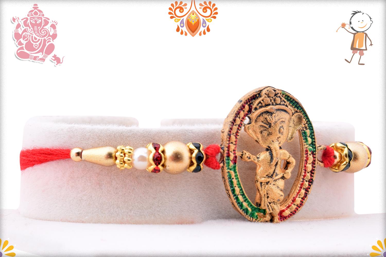 Designer Oval Shape Ganesha Rakhi 2