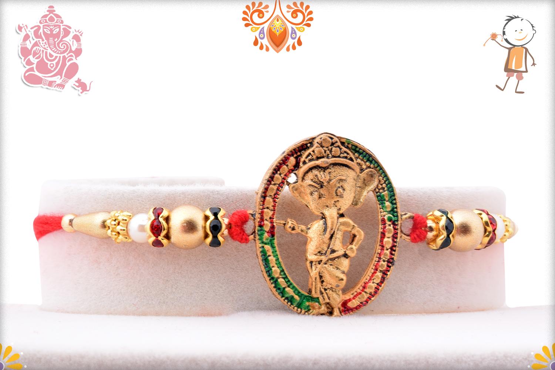 Designer Oval Shape Ganesha Rakhi 1