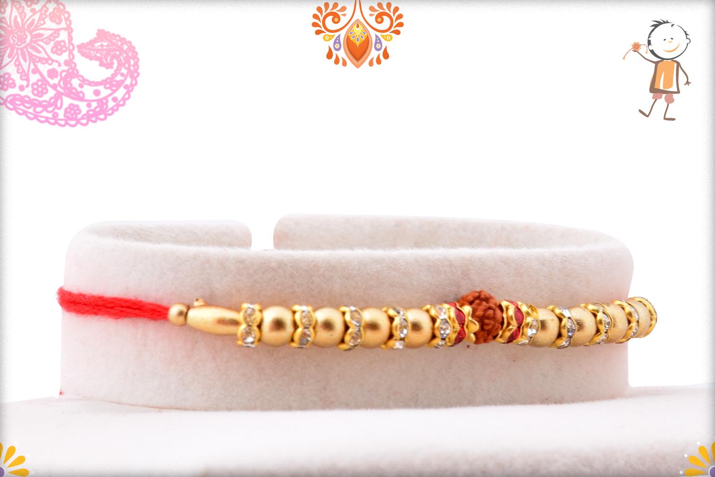 Golden Pearls Beads With Single Rudraksha Rakhi 2