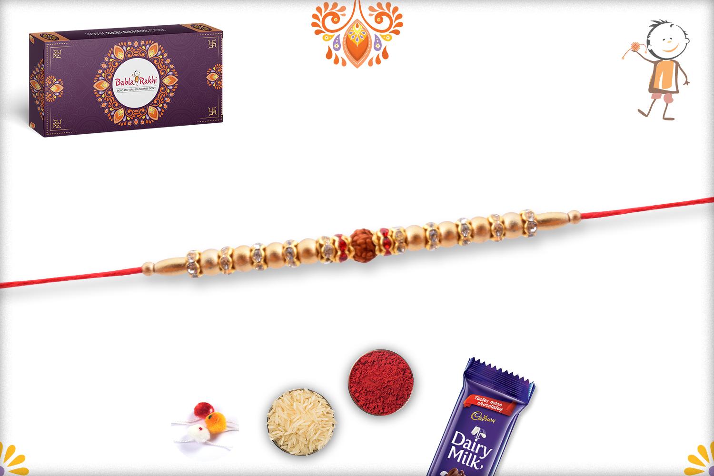 Golden Pearls Beads With Single Rudraksha Rakhi 3