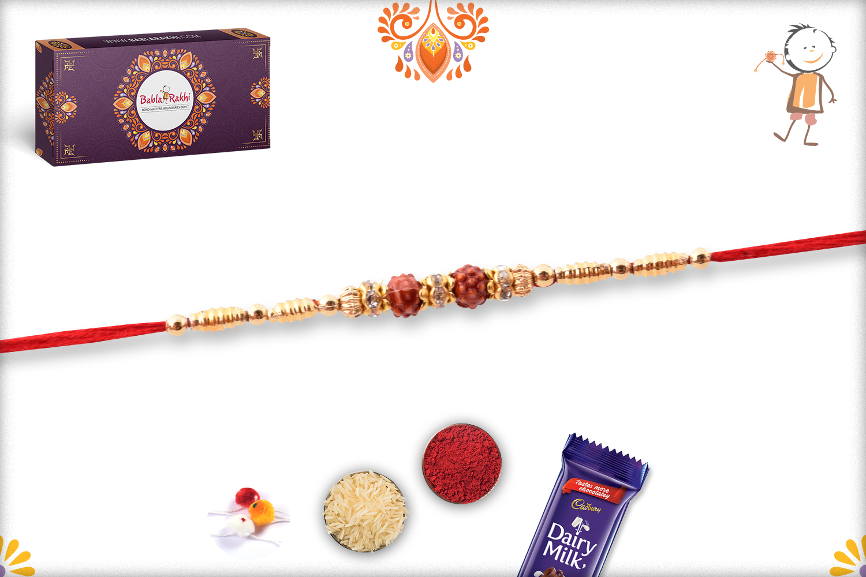 Exclusive Golden Touch Double Rudraksha Rakhi 3
