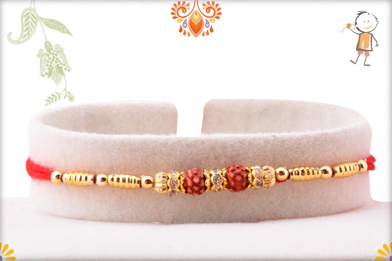 Exclusive Golden Touch Double Rudraksha Rakhi 1