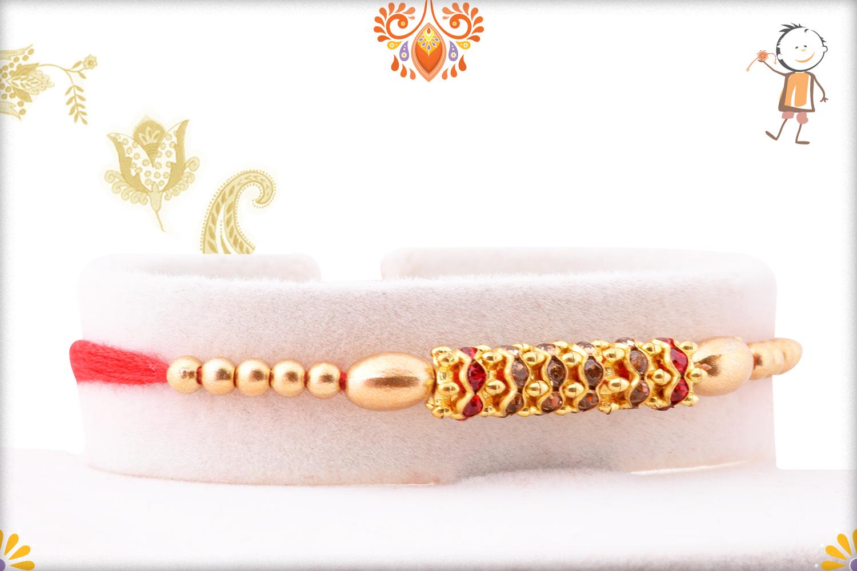 Trendy And Designer Golden Pearl Beads Rakhi 2