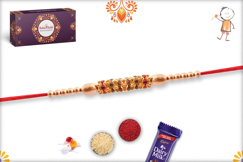 Trendy And Designer Golden Pearl Beads Rakhi 3