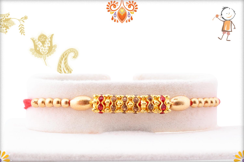 Trendy And Designer Golden Pearl Beads Rakhi 1
