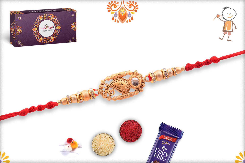 Royal Golden Designer Rakhi With Red Thread 2
