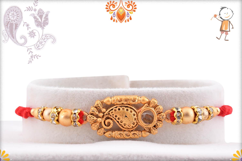 Royal Golden Designer Rakhi With Red Thread 1