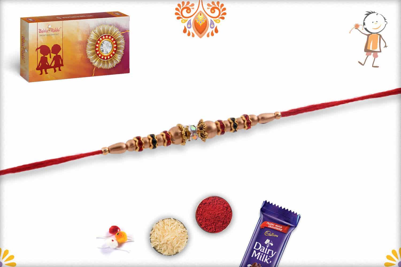 Delicate Golden Beads Rakh with Multi-color Diamonds - Babla Rakhi