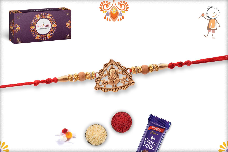 Traingle Royal Gold Ganpati Rakhi 2