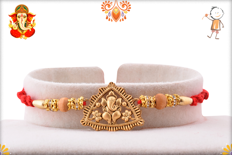 Traingle Royal Gold Ganpati Rakhi 1