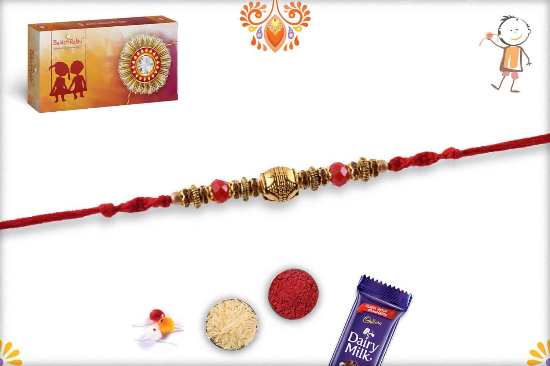 Traditional Golden Rakhi with Red Beads - Babla Rakhi