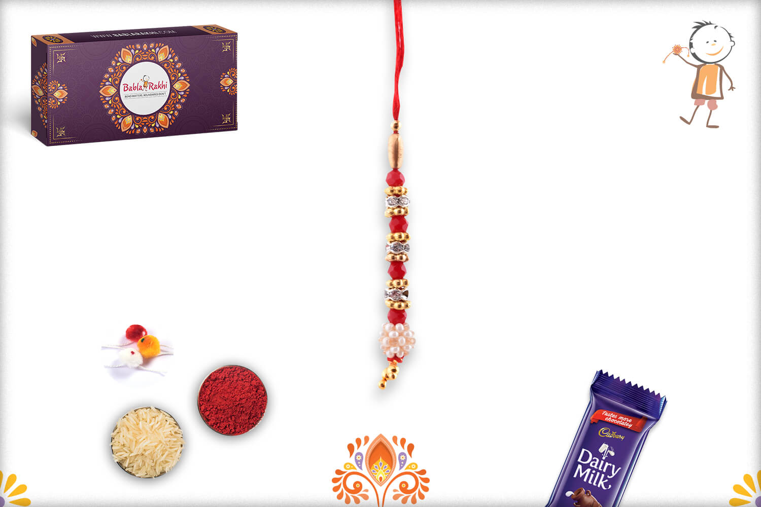 Beautiful Combination Of White Pearl Flower And Red Beads Lumba Rakhi 1