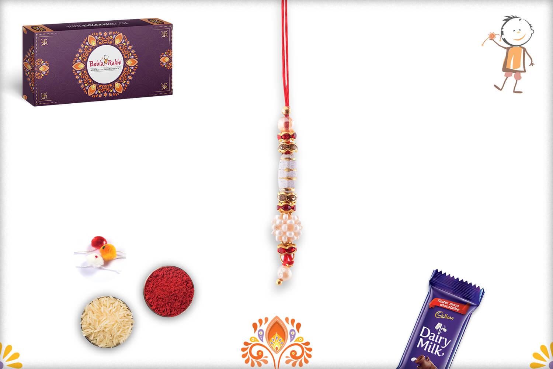 Amazing White Beads Flower and Metalique Design Lumba Rakhi 1