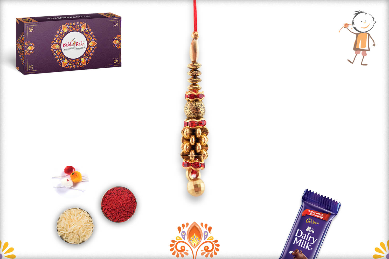 Dazzling Golden Flower And Golden Beads Lumba Rakhi 1
