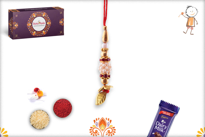 Royal White Beaded Rakhi With Golden Leaf 1