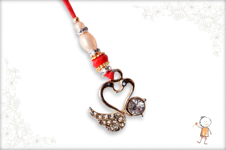 Beautiful Diamond Swan Bhabhi Rakhi - Babla Rakhi