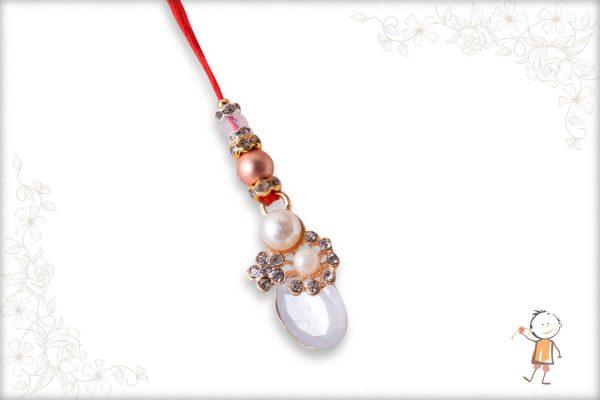Designer Bhabhi Rakhi with Diamonds and Pearls - Babla Rakhi