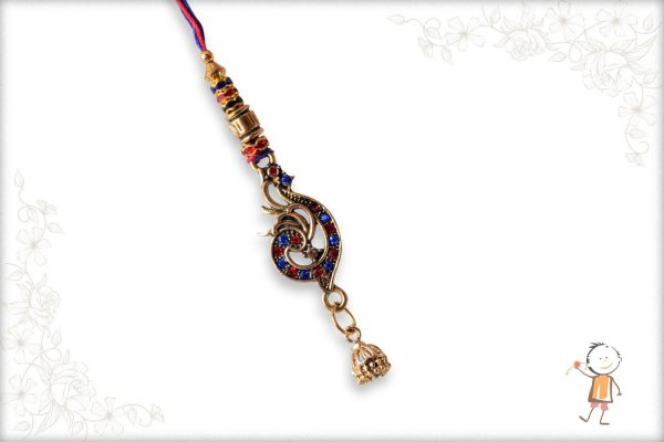Red-Blue Diamond Peacock Bhabhi Rakhi - Babla Rakhi