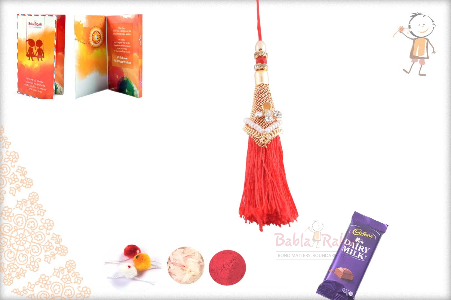 Elegant Red Thread with Golden Net Bhabhi Rakhi 1