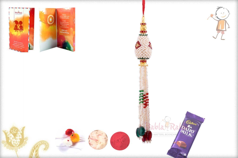 Handcrafted Pearl Bhabhi Rakhi 1