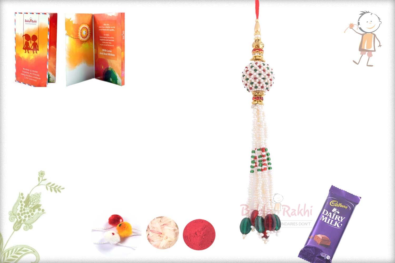 Handcrafted Multicolor Pearl Bhabhi Rakhi 1