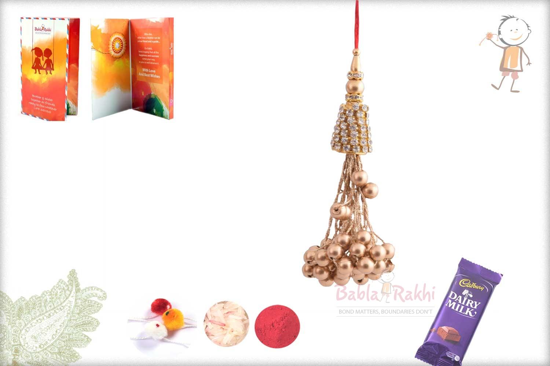 Exclusive Copper Beads with Diamonds Bhabhi Rakhi 1