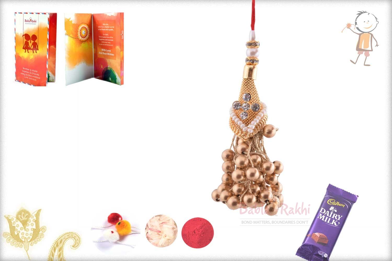 Exclusive Copper Beads with Golden Net Bhabhi Rakhi 1