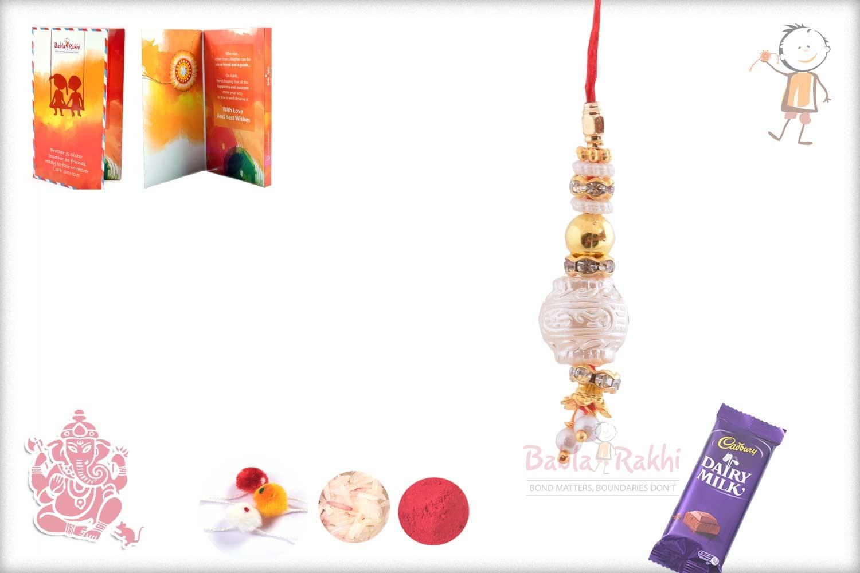 Designer Pearl with diamonds Bhabhi Rakhi 1