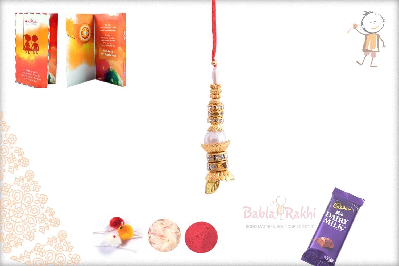 Delicate Pearl Bhabhi Rakhi with Golden Leaf 1