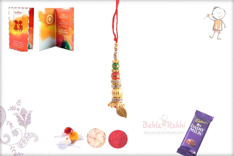 Delicate Golden Bead with Leaf Bhabhi Rakhi 1