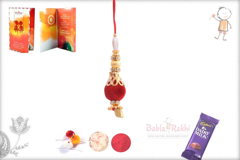 Elegant Red Velvet Bead with Golden Leaf Bhabhi Rakhi 1