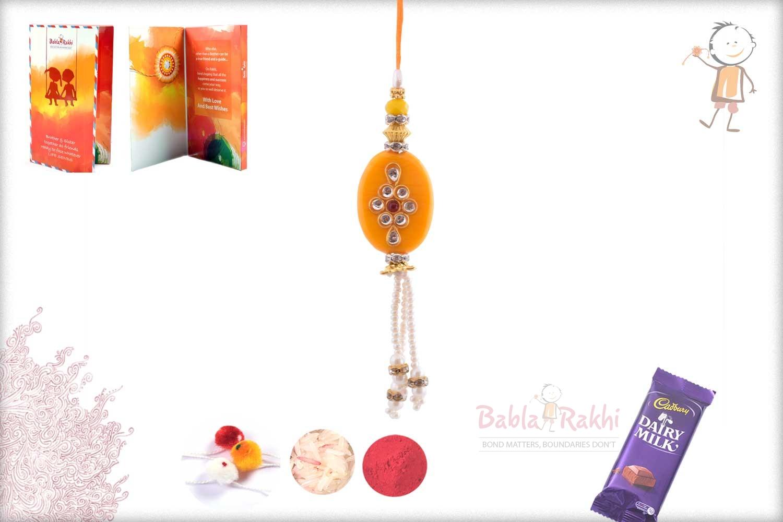 Exclusive Yellow Stone with Kundan Bhabhi Rakhi 1