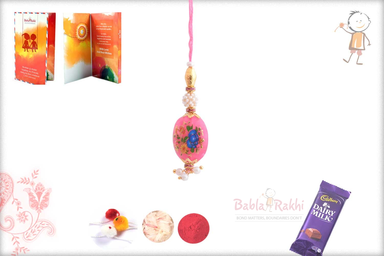 Exclusive Pink Stone with Flowers Bhabhi Rakhi 1