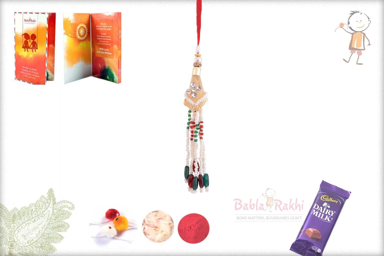 Designer Golden Bhabhi Rakhi with Pearls 1