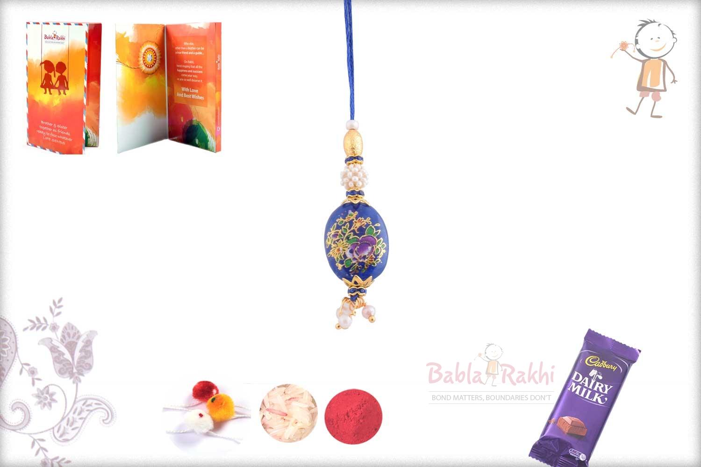 Exclusive Blue Stone with Flowers Bhabhi Rakhi 1