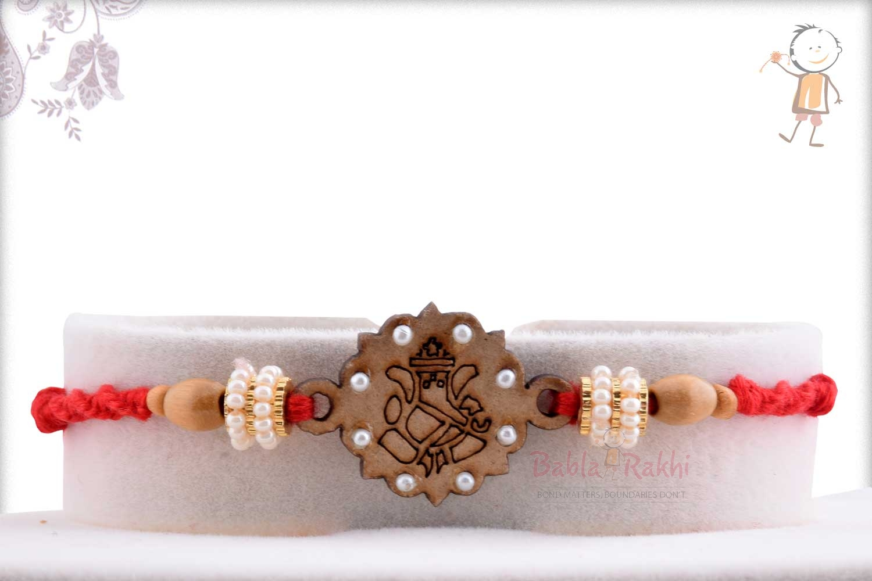 Beautiful Wooden Crafted Ganpati Rakhi 1