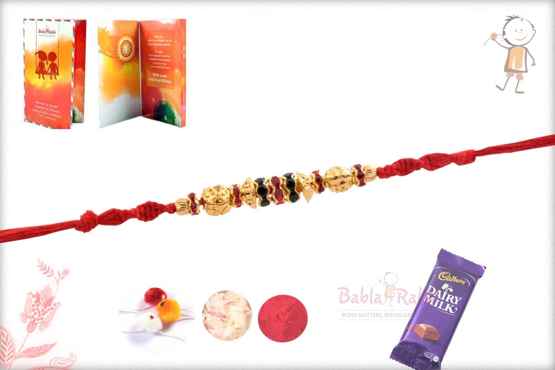 Designer Golden Beads with Red-Green Diamond Rings 2