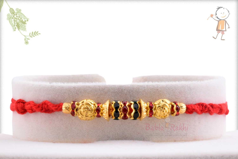 Designer Golden Beads with Red-Green Diamond Rings 1