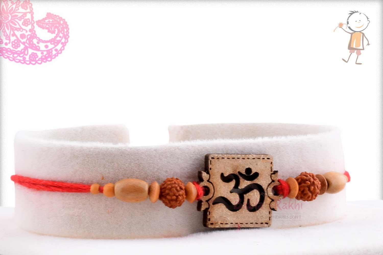 Exclusive Wooden Crafted OM Rakhi with Rudhraksh 2