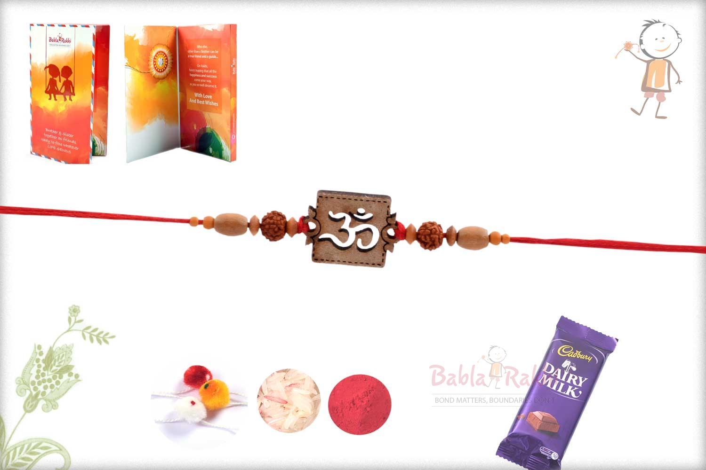 Exclusive Wooden Crafted OM Rakhi with Rudhraksh 3