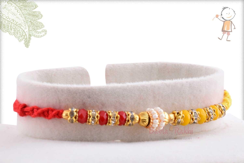 Designer Red-Yellow Beads Rakhi with Pearl Ring 2