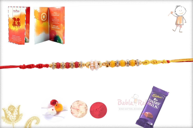 Designer Red-Yellow Beads Rakhi with Pearl Ring 3
