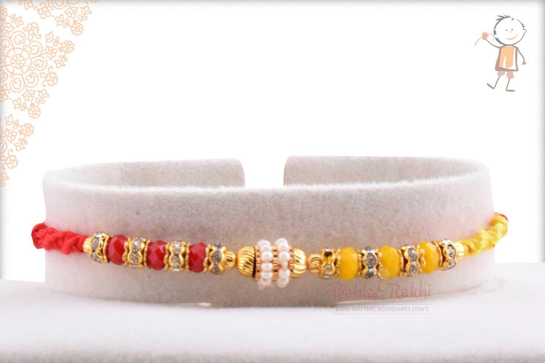 Designer Red-Yellow Beads Rakhi with Pearl Ring 1