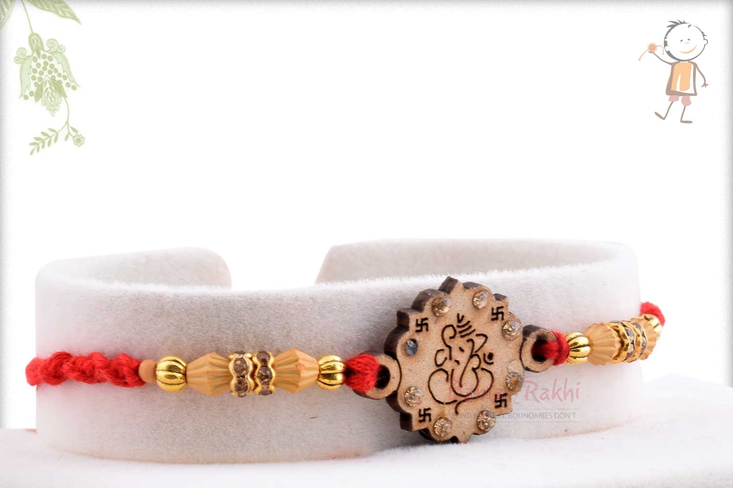 Exclusive Wooden Crafted Ganpati Rakhi with Diamonds 2