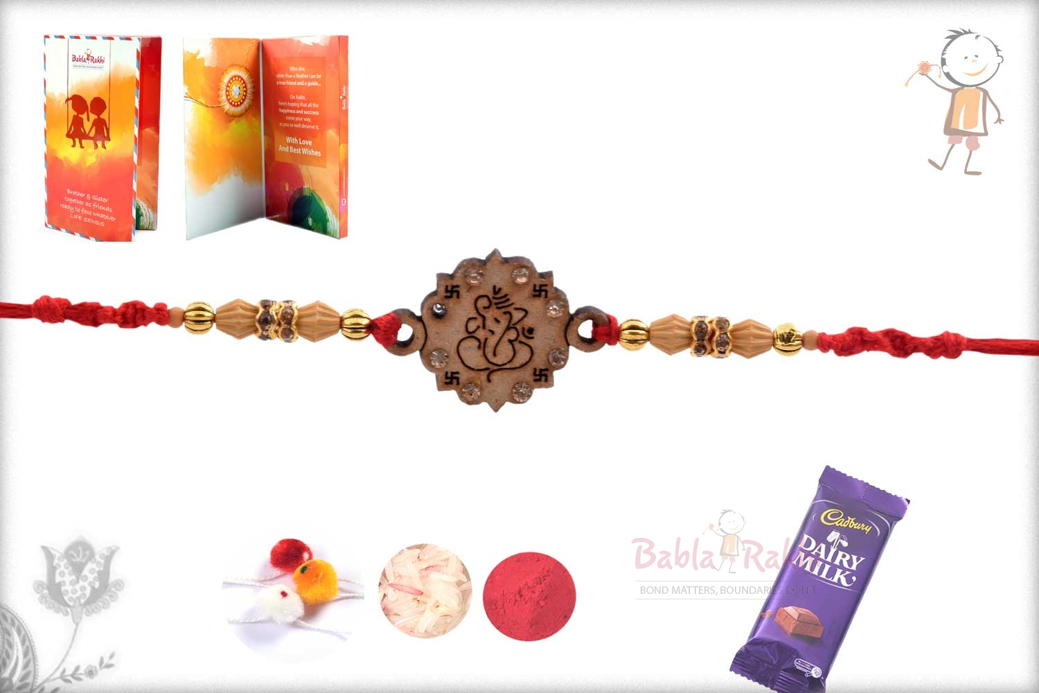 Exclusive Wooden Crafted Ganpati Rakhi with Diamonds 3