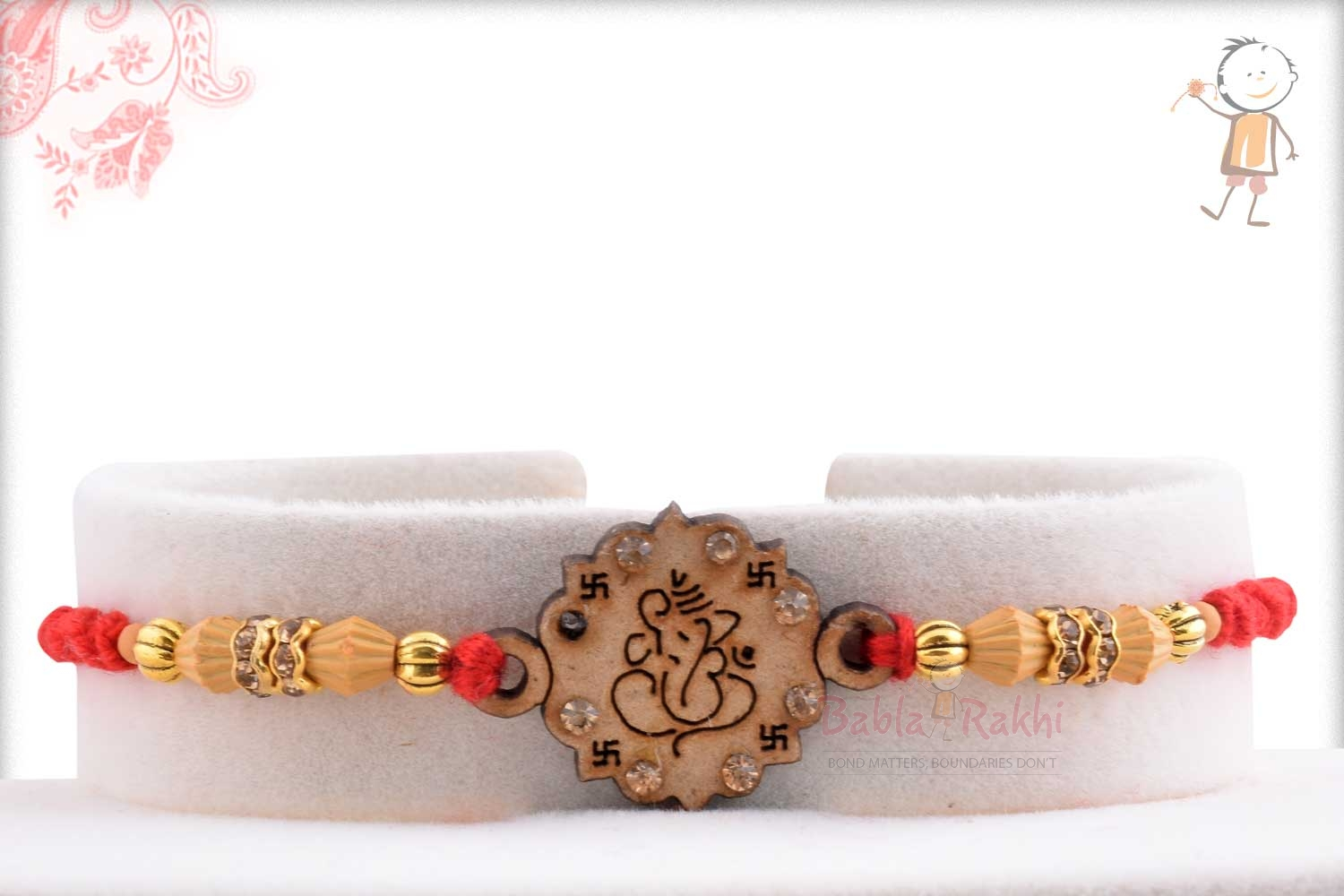 Exclusive Wooden Crafted Ganpati Rakhi with Diamonds 1