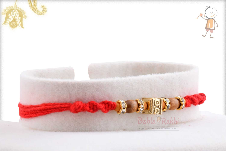Designer Square Bead with Oval Sandalwood Beads Rakhi 2