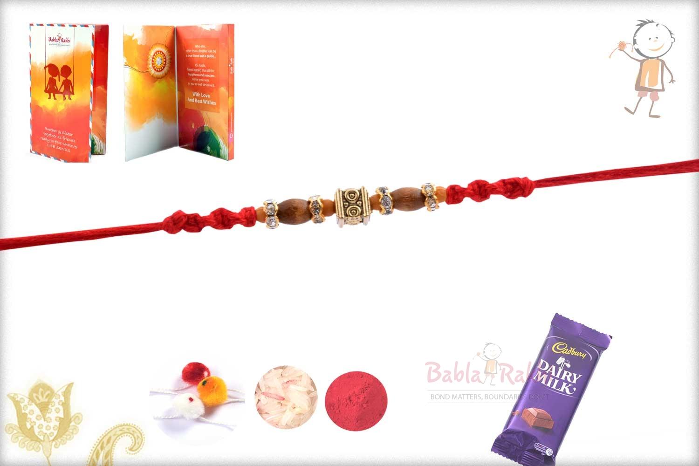 Designer Square Bead with Oval Sandalwood Beads Rakhi 3